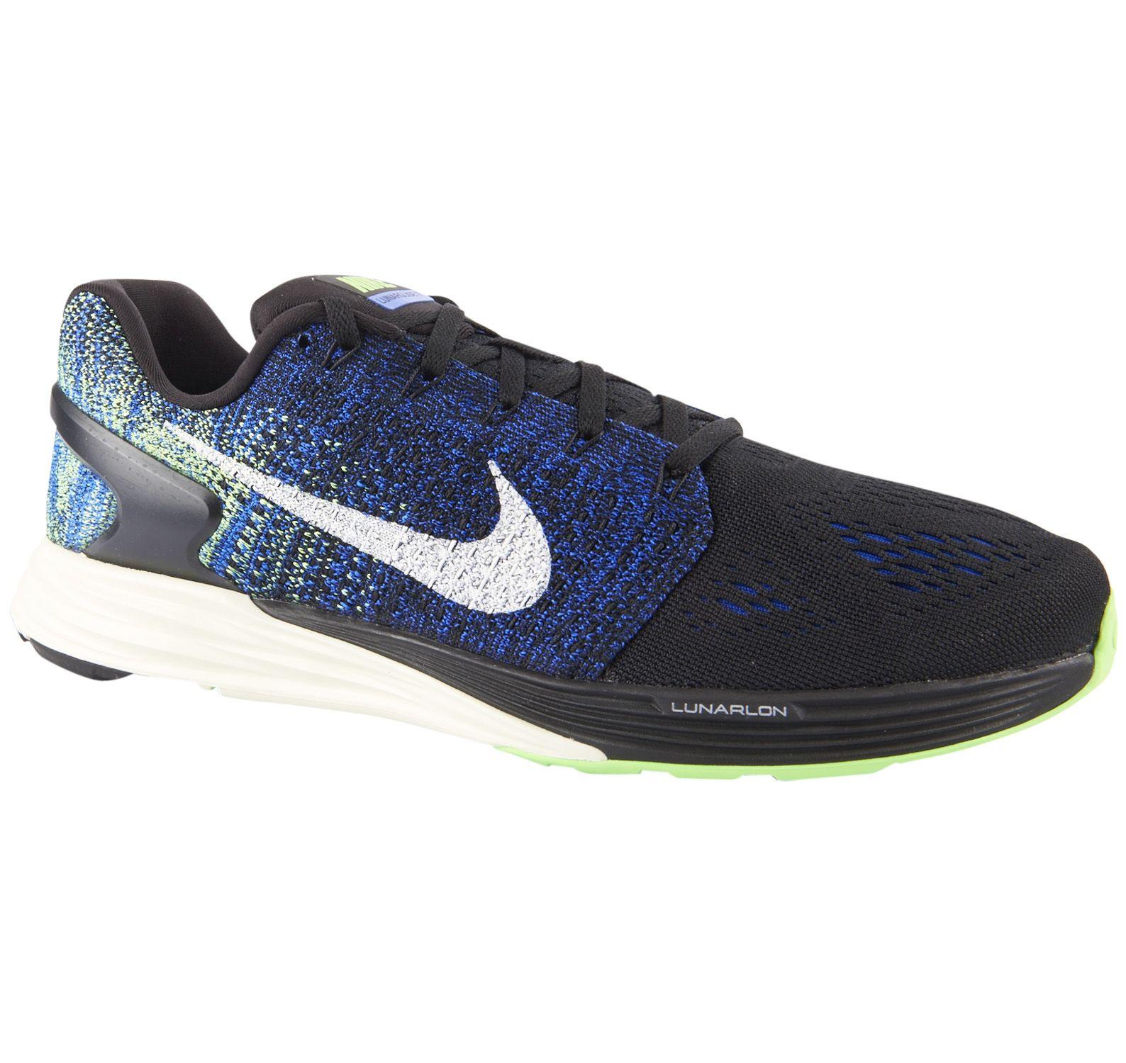 Nike Lunarglide 7, Black/Sail-Racer Blue-Vltg Grn, 45