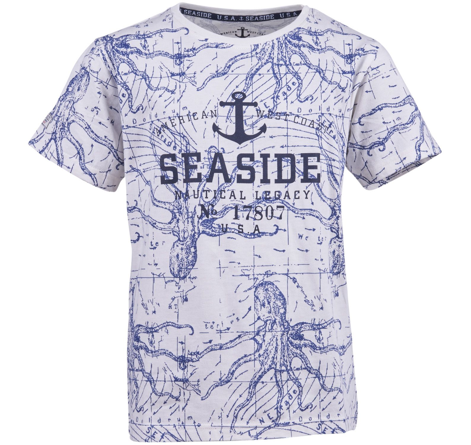 octopus printed tee jr, white, 130,  t-shirts