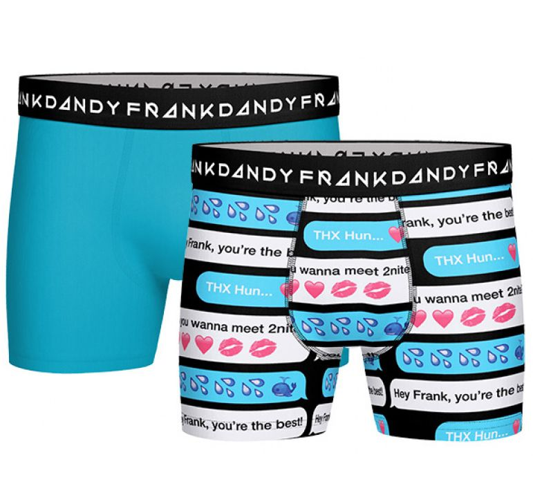 2 Pack Sexting Boxer, Clear Blue/Navy, Xxl,  Frank Dandy