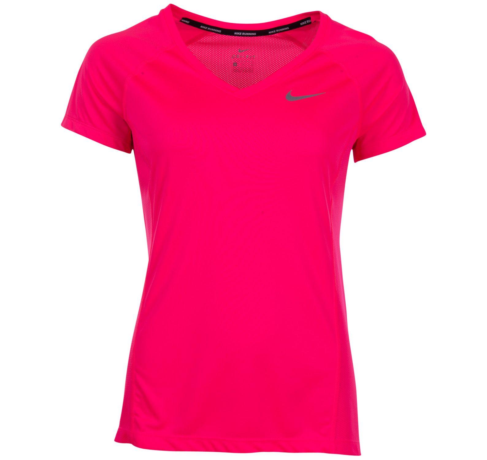W Nk Dry Miler Top V-Neck, Racer Pink/Racer Pink, Xl,  T-Shirts