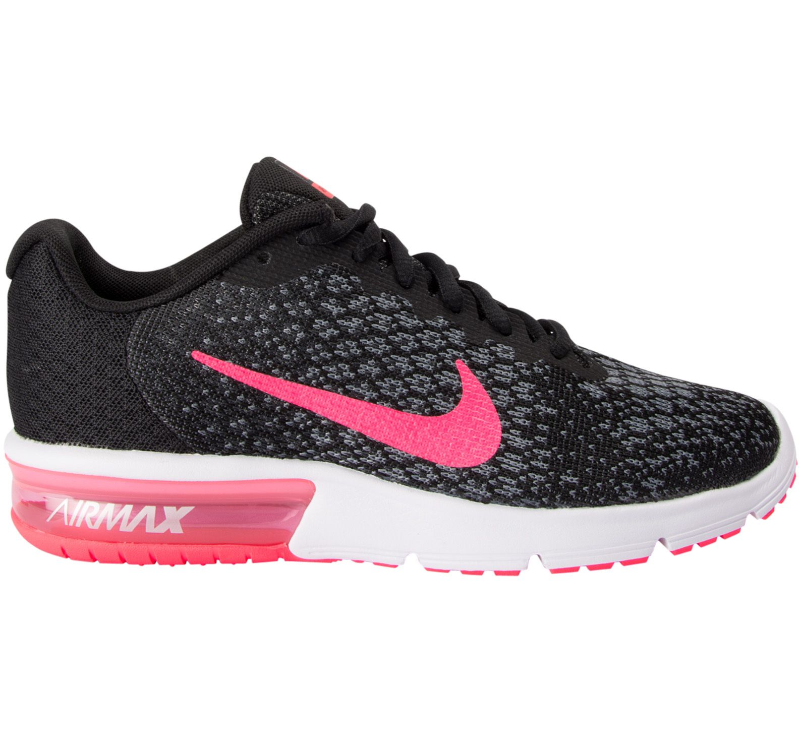 Wmns Nike Air Max Sequent 2, Black/Racer Pink-Anthracite-Co, 44,5