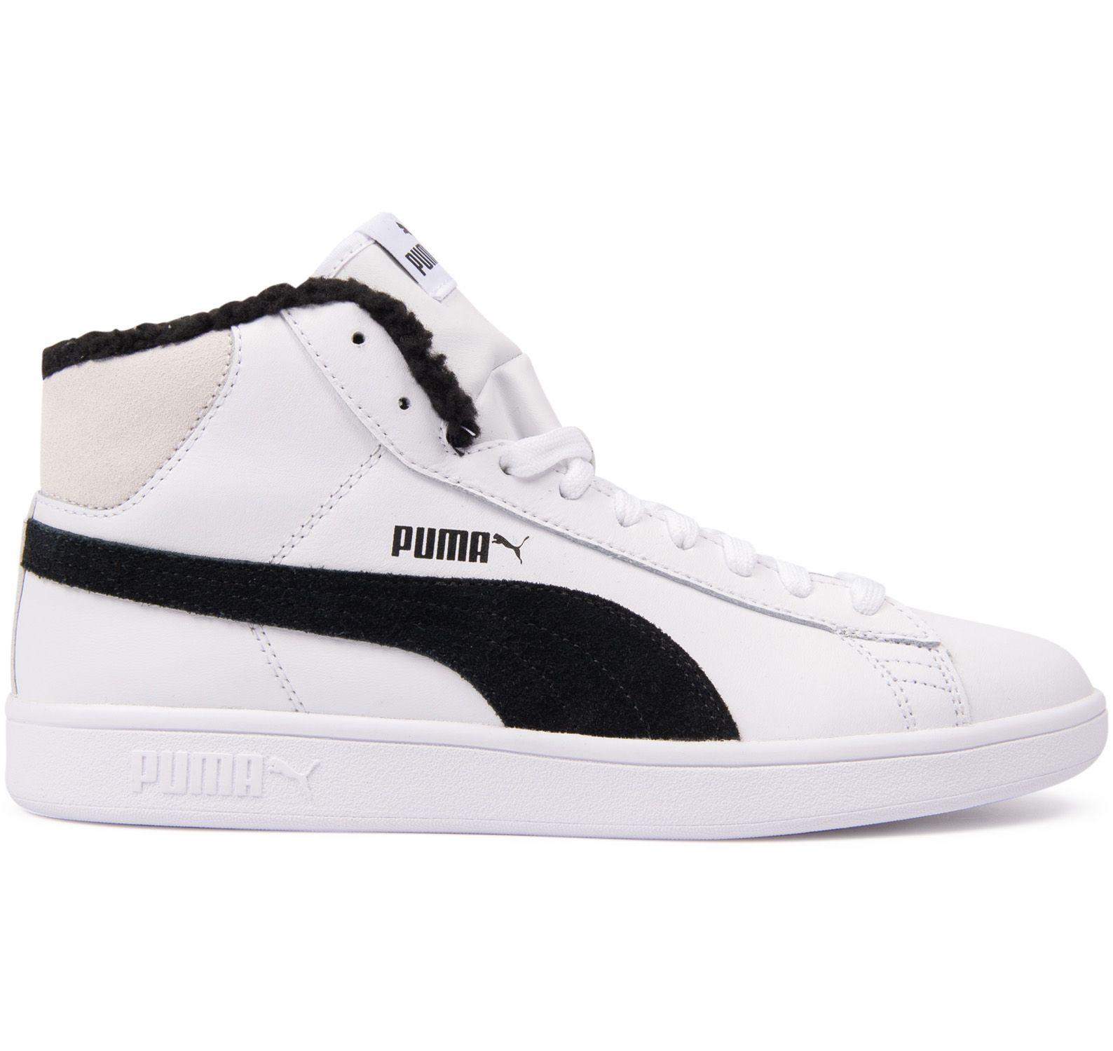Puma Smash V2 Mid L Fur Jr, Puma White-Puma Black, 36