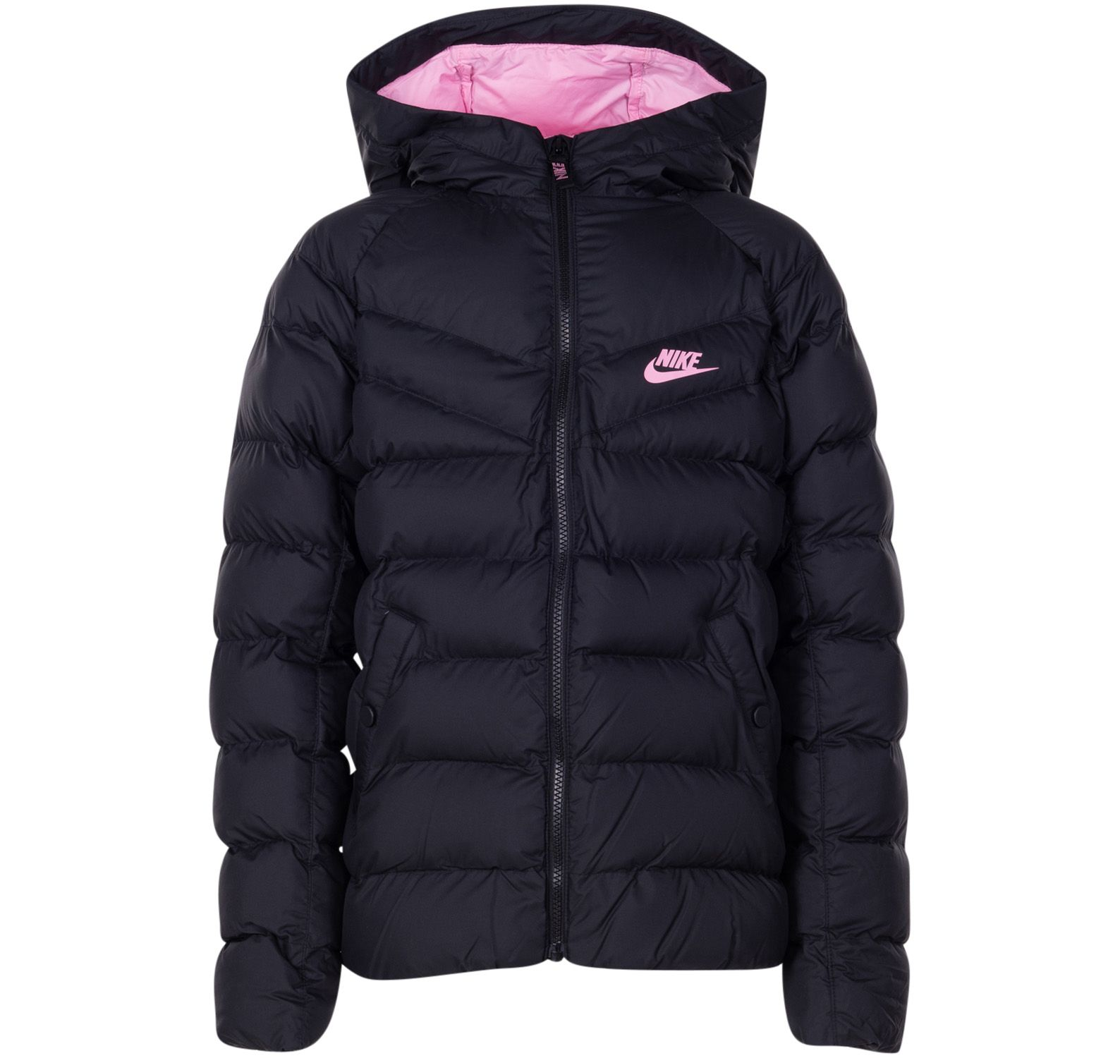 nike sportswear kids hooded jacket, blackblackblackpink
