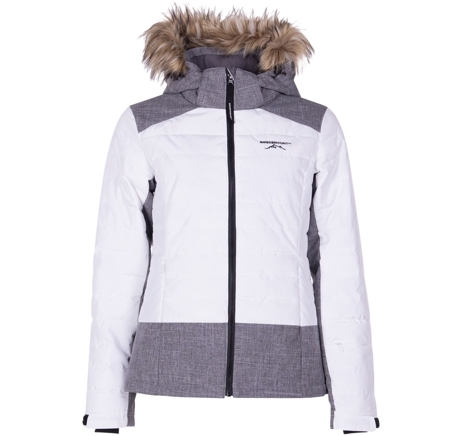 madonna jacket w, white/dk grey melange, 38,  skidkläder