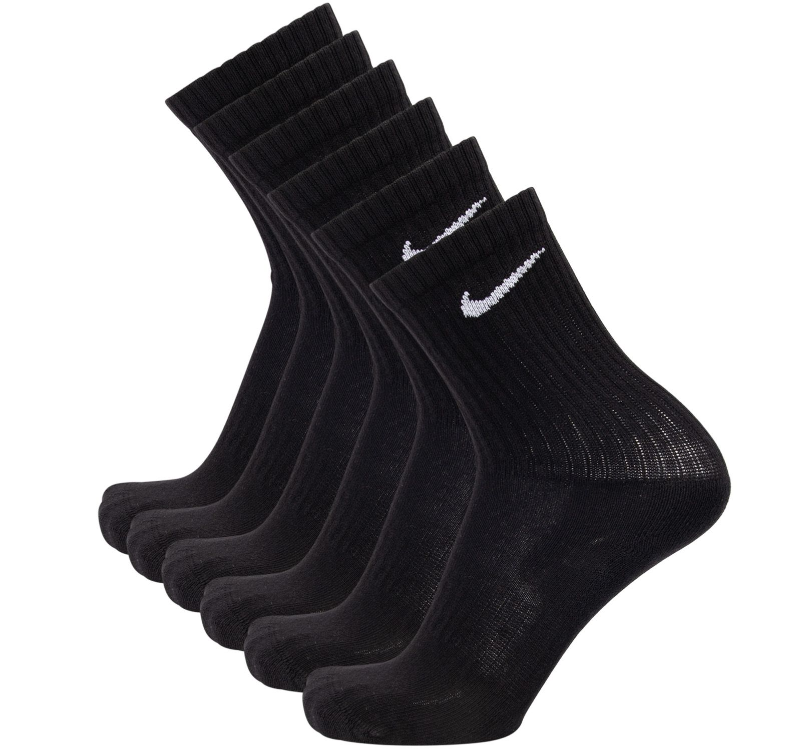 6-pack nike sportsockar cushion crew, black/white, l,  nike