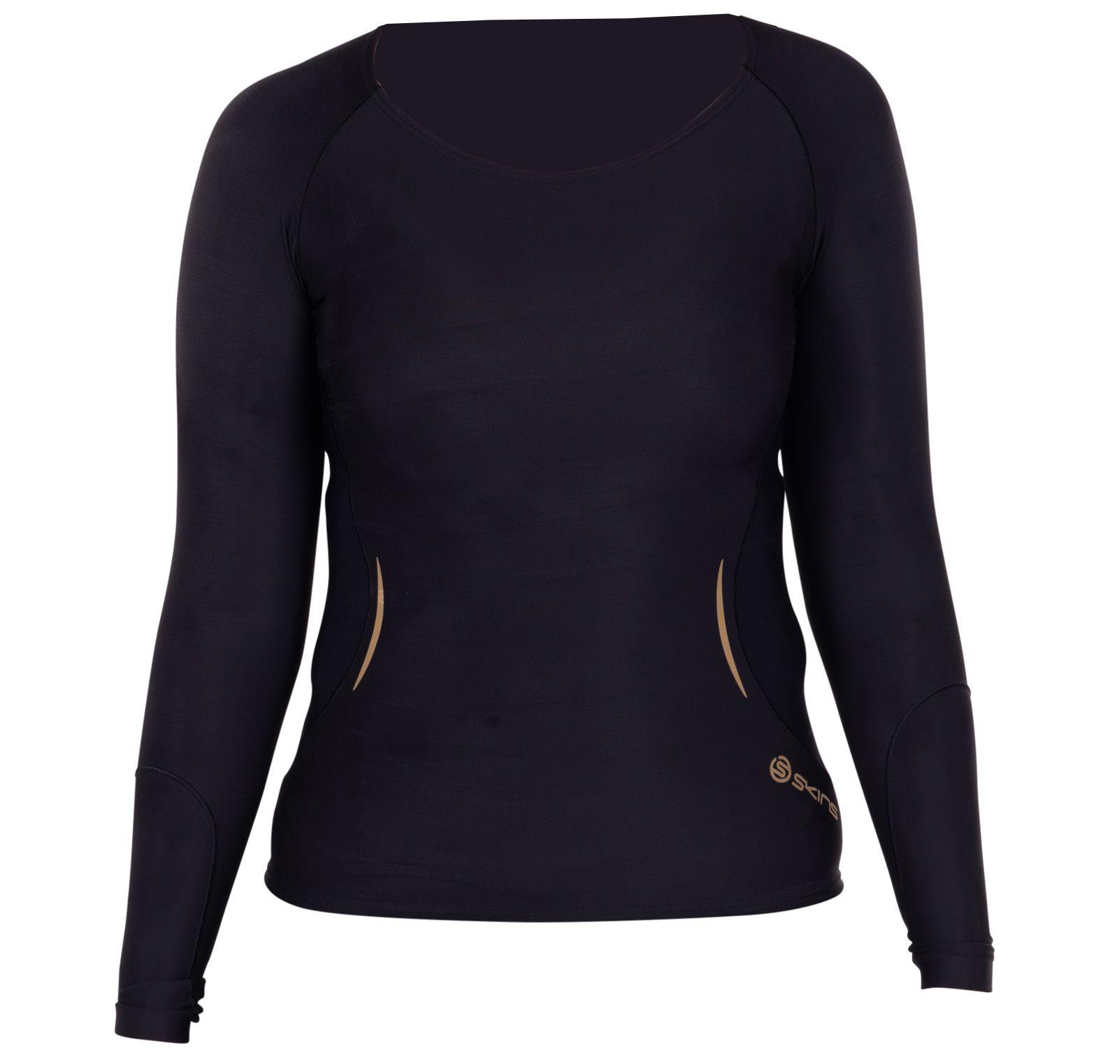 a400 womens top long sleeve, black/gold, xs,  skins