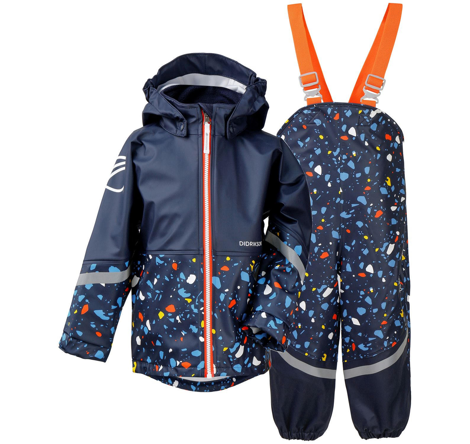 waterman pr kids set, navy terazzo, 100, didriksons regnkläder